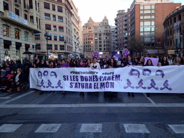 Huelga feminista en València