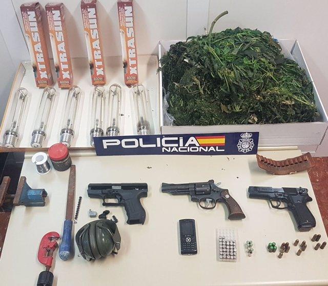Armas de fuego y sustancias intervenidas