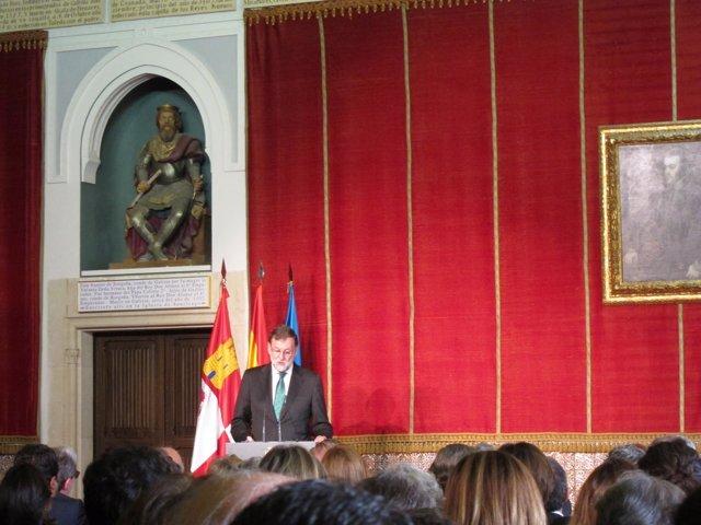 Rajoy en el acto en el Alcázar de Segovia, 14-5-18
