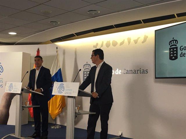 Narvay Quintero y Pablo Rodríguez en la rueda de prensa del Consejo de Gobierno