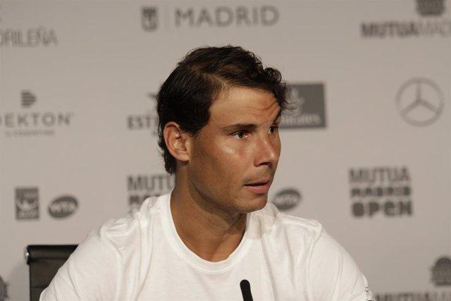 Rafa Nadal en rueda de prensa del Mutua Madrid Open