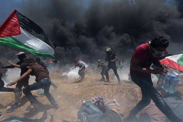 Protestas en Gaza en el día del traslado de la Embajada de EEUU a Jerusalén
