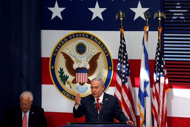 Benjamin Netanyahu en la inauguración de la Embajada de EEUU en Jerusalén