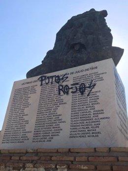Pintada en el monumento memorialista de Coria