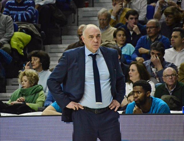 El entrenador del Real Madrid Baloncesto, Pablo Laso, durante un partido