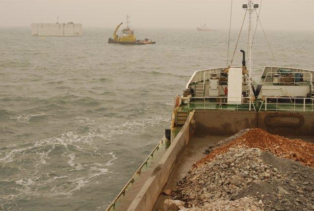 Obras de ampliación de El Puerto de El Musel, en Gijón