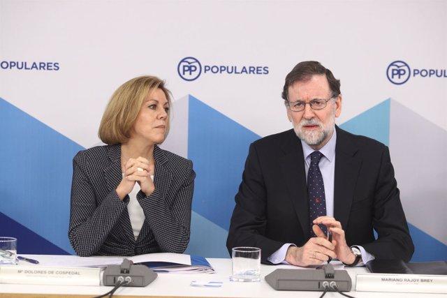 Rajoy y Cospedal en la reunión del Comité Ejecutivo Nacional del PP