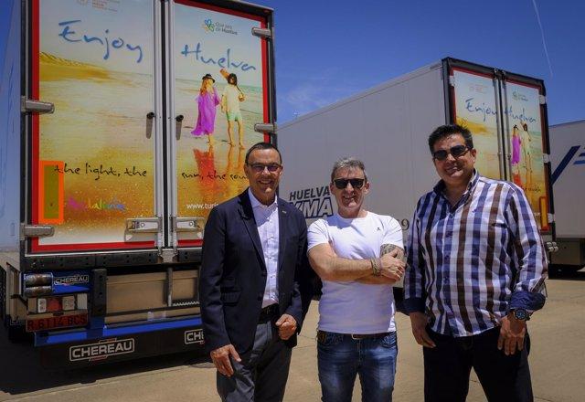 Camiones serigrafiados para promocionar a la provincia de Huelva en Europa.
