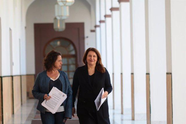 Catalina García y Carmen Crespo (PP-A), en los pasillos del Parlamento andaluz