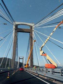 Obras en el puente de Rande