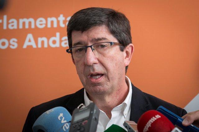 El presidente de Cs Andalucía, Juan Marín, días atrás.
