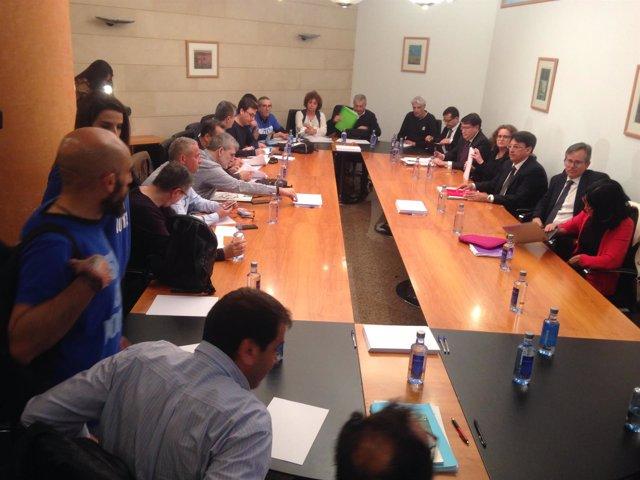 Reunión de representantes de la Xunta con sindicatos de la Justicia.
