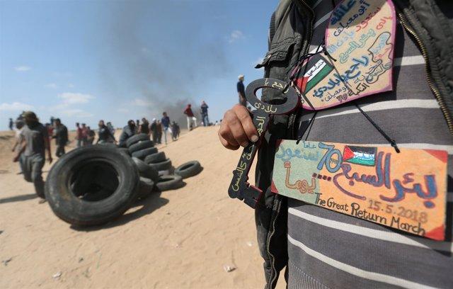 Enfrentamientos entre palestinos y soldados israelíes por la 'Nakba'