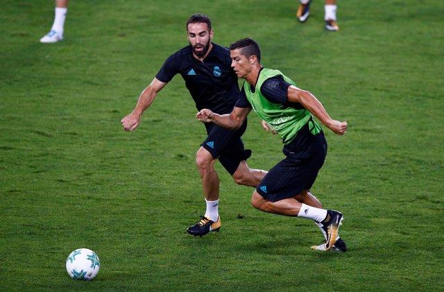 Cristiano Ronaldo y Dani Carvajal en un entrenamiento