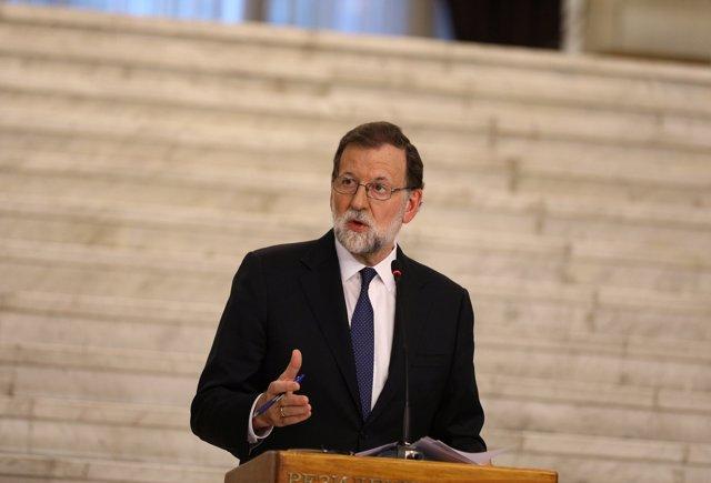 Mariano Rajoy en una rueda de prensa junto al primer ministro búlgaro en Sofía