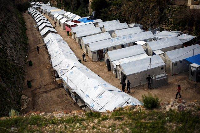 Campo de refugiados en Souda, en la isla griega de Quíos