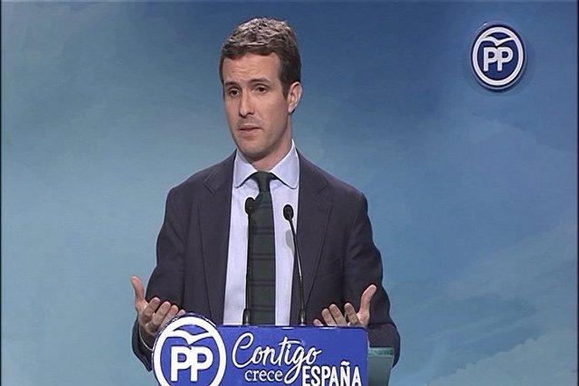 Pablo Casado compareix en roda de premsa