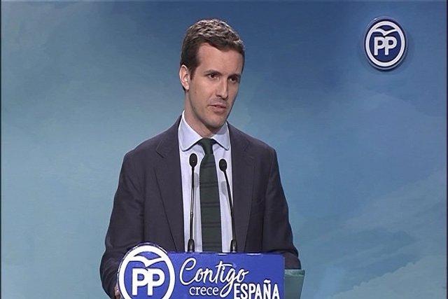 Pablo Casado comparece en rueda de prensa