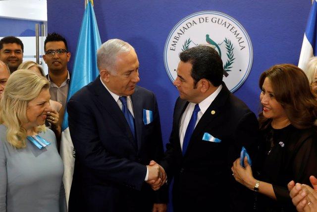 Morales y Netanyahu en la inauguración de la Embajada de Guatemala en Jerusalén