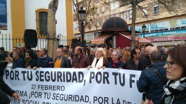 Imagen de archivo de la concentración celebrada en La Línea por la seguridad