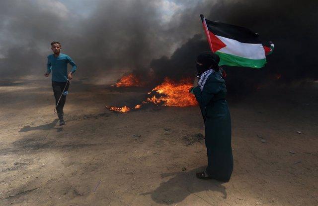 Foto de archivo de las protestas en el día del traslado de la Embajada de EEUU
