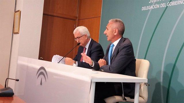 Jiménez Barrios con Miguel Ángel Vazquez en rueda de prensa