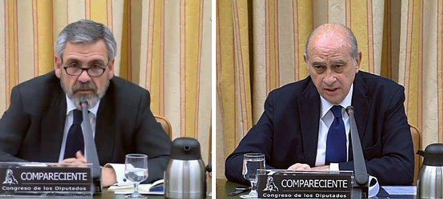 Jorge Fernández Díaz y Daniel de Alfonso en la comisión de Interior