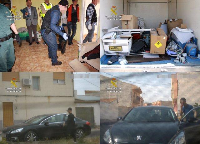 Imagen de los detenidos y de los efectos intervidos
