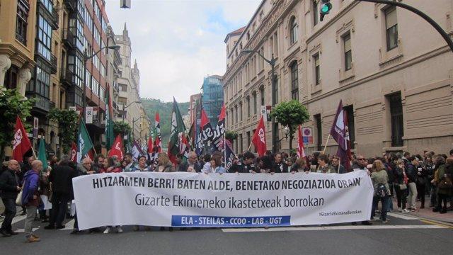 Manifestación de los sindicatos en Bilbao