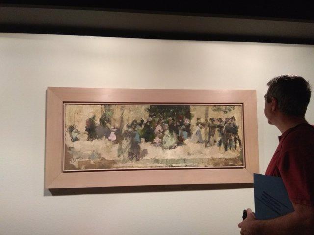 Fotografía sobre el cuadro de Pinazo: Salida de Misa en Godella, 1890