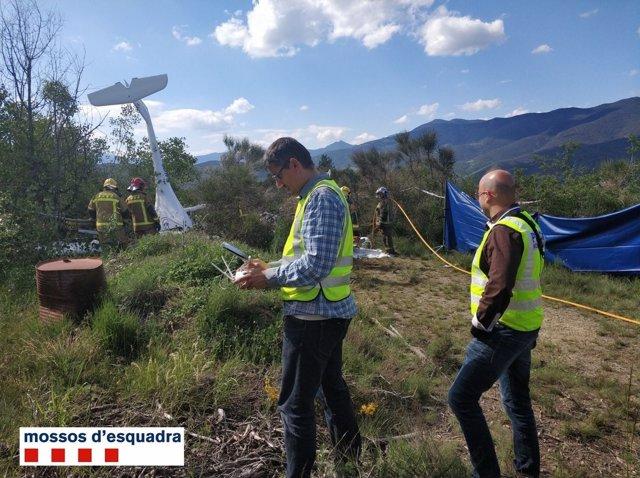 Els Mossos investiguen l'accident de l'ultralleuger a La Seu d'Urgell (Lleida)