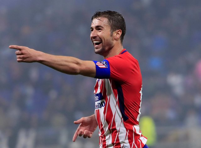 Gabi celebra el tercer gol de la final de la Liga Europa
