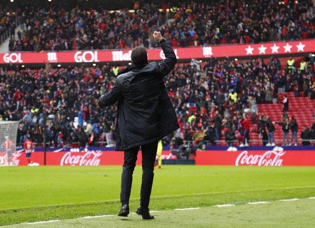 Simeone celebra un gol del Atlético en el Metropolitano