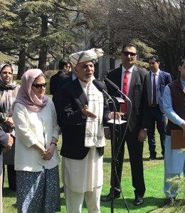 El presidente afgano, Ashraf Ghani, en un discurso ante sus seguidores