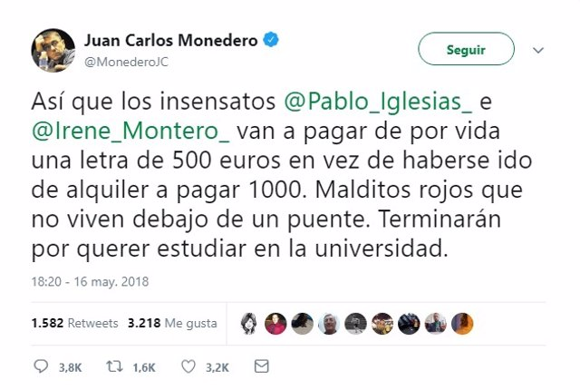 Monedero sobre Pablo Iglesias e Irene Montero