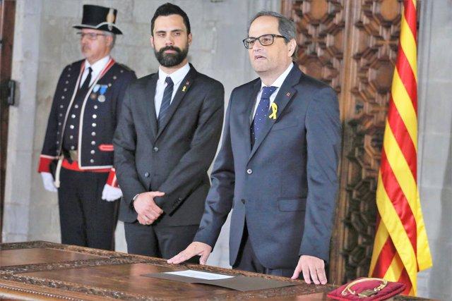 El presidente Quim Torra y el pte.Del Parlament R.Torrent