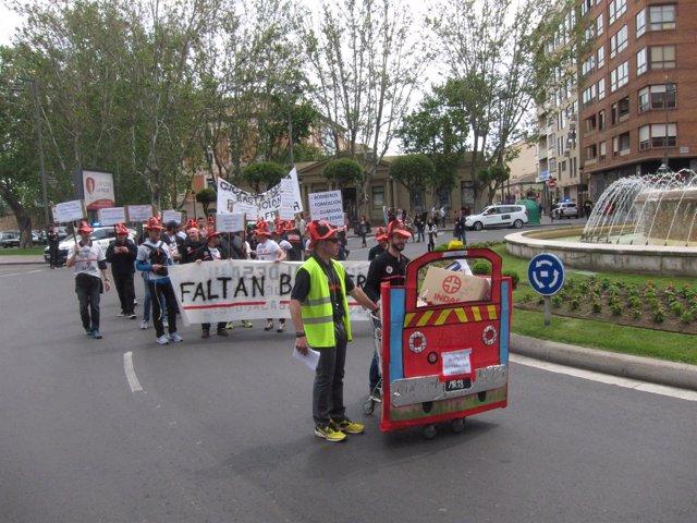 Imagen de la protesta de los Bomberos de Logroño