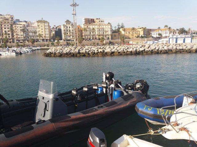 Narcolancha intervenida en Ceuta