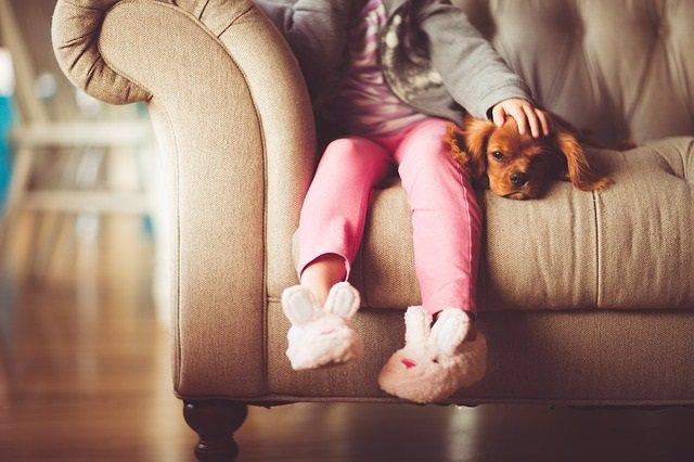 Niño, niña, mascota, perro
