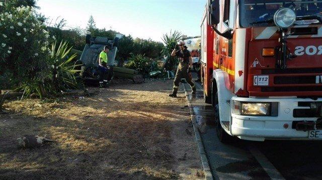 Los bomberos del Aljarafe en un accidente
