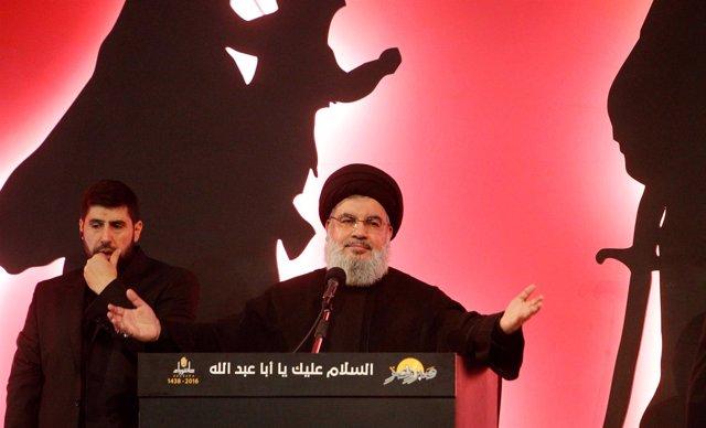 El líder de Hezbolá, Hasán Nasralá, habla ante sus seguidores