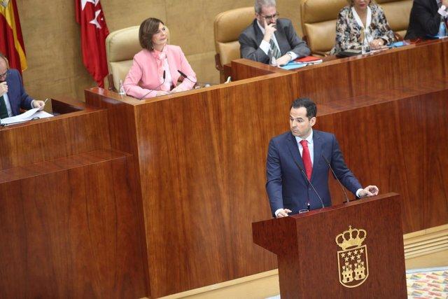 Ignacio Aguado interviene en el pleno de investidura de Ángel Garrido