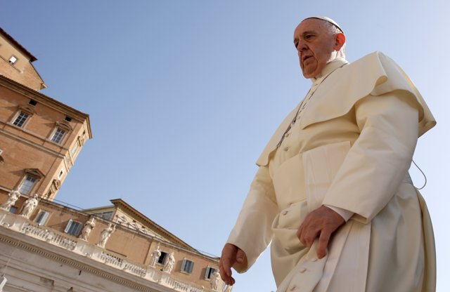 Pope Francis arrives to lead the Wednesday general audience in Saint Peter's squ