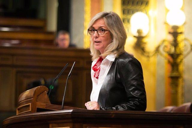La portavoz del Pacto de Toledo del PSOE, Mercé Perea, en el Congreso