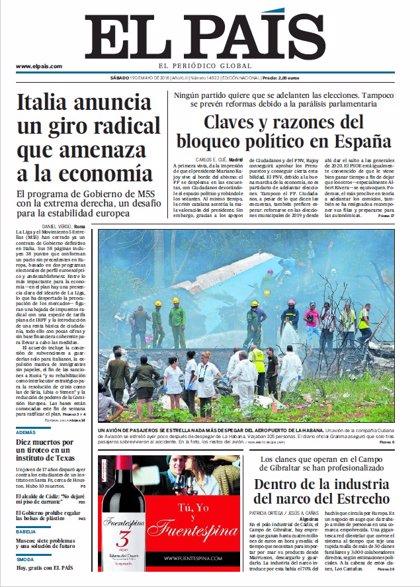 Las portadas de los periódicos de hoy, sábado 19 de mayo de 2018