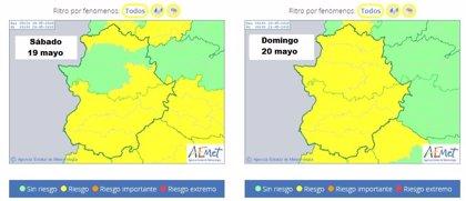 La alerta por tormentas se amplía a la provincia de Badajoz el sábado y a toda Extremadura el domingo