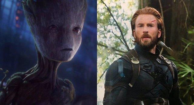 Groot y Capitán América