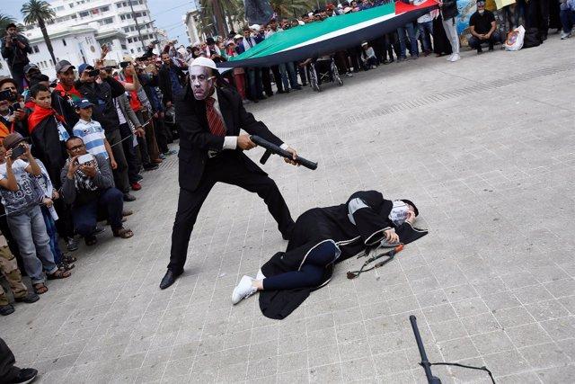 Protesta contra Estados Unidos en Casablanca (Marruecos)