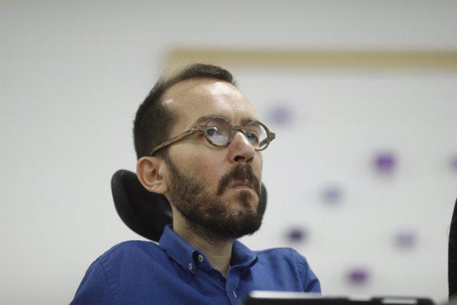 Rueda de prensa de Pablo Echenique en la sede de Podemos