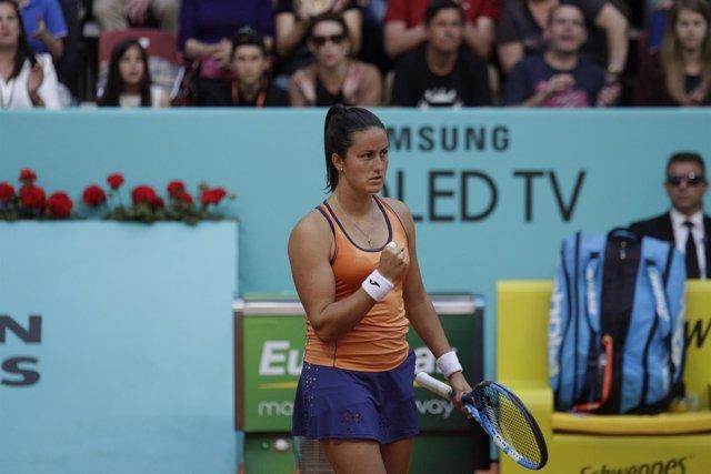 Arruabarrena celebrando punto en el Mutua Madrid Open